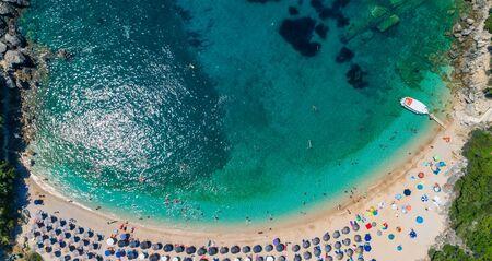 Aerial view of  Sarakiniko Beach with turquoise sea in Parga area, Ionian sea, Epirus, Greece Stock Photo