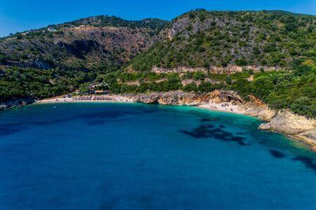 Aerial drone bird's eye view of of Mega Drafi Beach and Small Drafi Beach with turquoise sea in Parga area, Ionian sea, Epirus, Greece