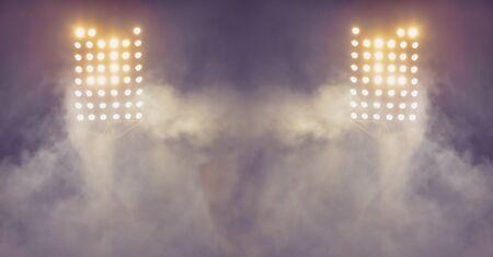 soccer stadium lights reflectors with smoke. football field