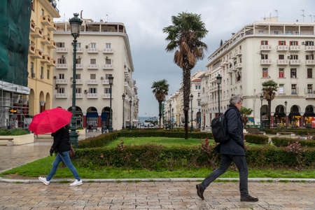 Thessaloniki, Greece - March 23, 2020: A view of empty streets in Thessaloniki after Greece imposed a lockdown to slow down the spread of the coronavirus disease Redactioneel