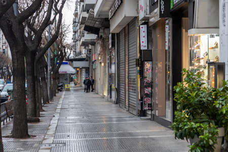 Thessaloniki, Greece - March 23, 2020: A view of closed shops in historical centre following an outbreak of coronavirus disease (COVID-19)