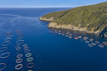 Fish farm with floating cages in Chalkidiki, Greece. Aerial view