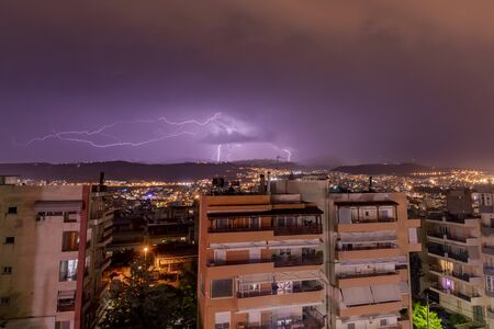 Lightning storm over the city of Thessaloniki, Greece