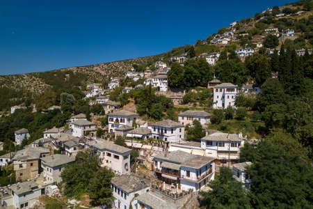 Aerial view of Makrinitsa traditional greek village on Pelion mountain in central Greece.