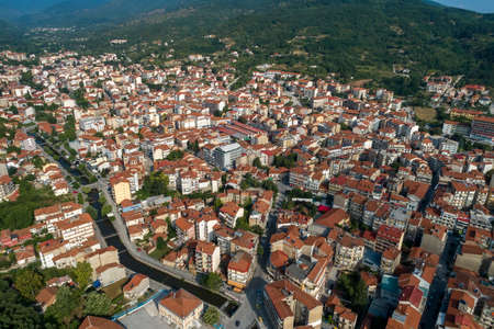 Aerial view of Florina city in northern Greece.