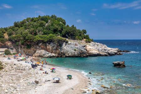 Pelion, Greece - August 8, 2020: Picturesque Damouchari beach at Pelion in Greece