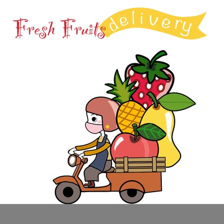 cute hand drawn cartoon of fresh fruits from farm delivery girl who wearing helmet and face mask riding scooter with apple,pineapple,mango,strawberry mascot vector