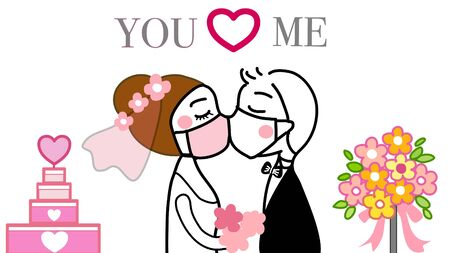 hand drawn vector of couple kissing under the face mask in their wedding to prevent coronavirus.with wedding cake and bouquet in background.on white background.