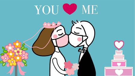 hand drawn vector of couple kissing under the face mask in their wedding to prevent coronavirus.with wedding cake and bouquet in background.on blue background.