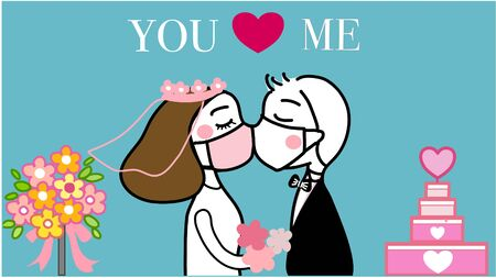 hand drawn vector of couple kissing under the face mask in their wedding to prevent coronavirus.