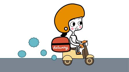 hand drawn cartoon vector of  home delivery girl wearing   uniform with orange  helmet and face mask riding scooter with red container on  with word Home delivery