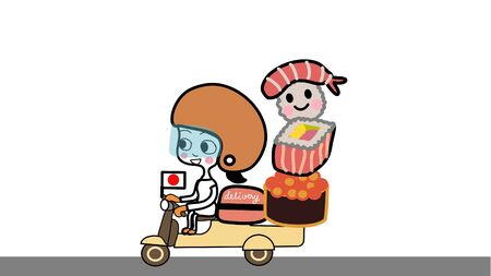 hand drawn cartoon vector of Japanese food home delivery girl wearing helmet and face shield riding scooter with red container with big Sushi mascot and japan flag on white  background and grey street Ilustração