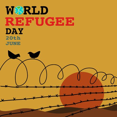 hand drawn vector of refugee camp from behind the barbed wire fence in empty day sunset . with 2 birds on the fence for world refugee day on 20th June .