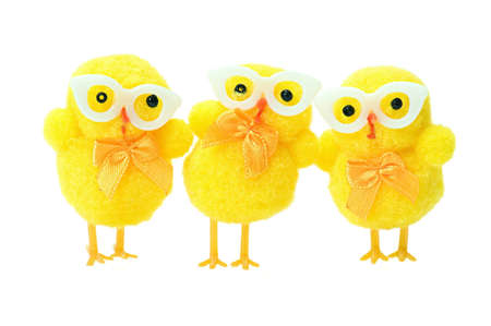 pollitos: Pascua pollos friki aisladas sobre fondo blanco
