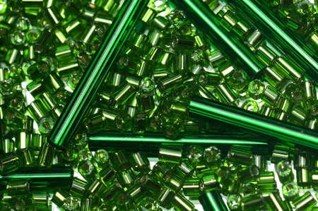 haberdashery: Green glass beads.