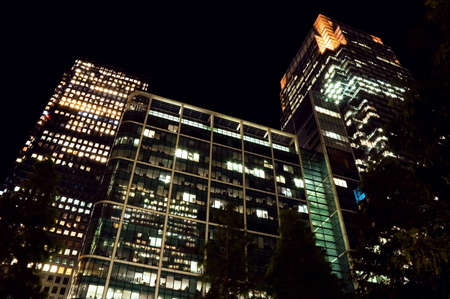 low glass: Canary Wharf at night. London, UK