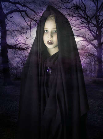 Ghost of a child appearing in the haunted forest photo