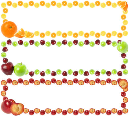 tropical border: Three colorful fruit frames isolated on white background with copy space for text.