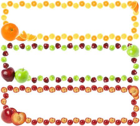 naranjas: Tres marcos de colores de frutas aisladas sobre fondo blanco con copia espacio para el texto. Foto de archivo