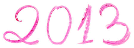 2013 written with pink lipstick isolated on white background