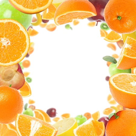 Frame made with juicy fruits with copy space. Stock Photo