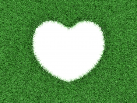 Heart shape cut out in green grass background 3d render