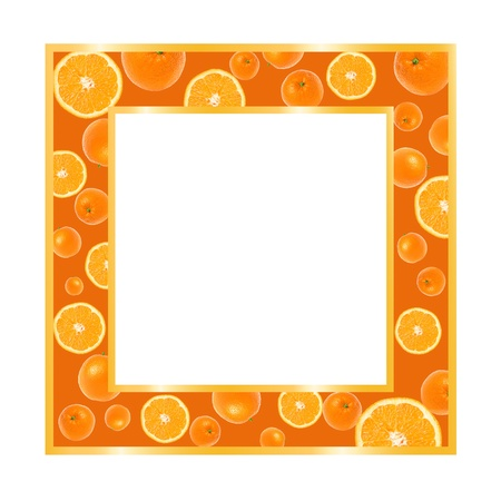 Gold frame with oranges isolated on white Stock Photo
