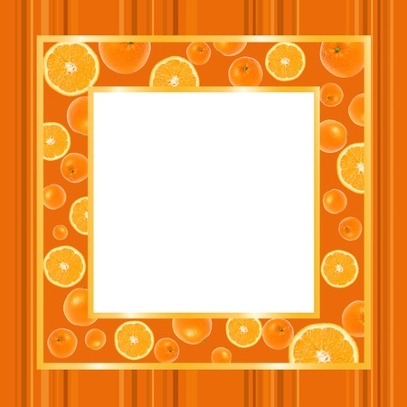 Gold an orange frame with oranges on striped wallpaper with copy space