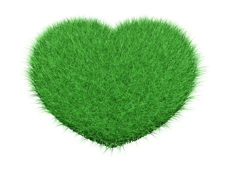 Green grass heart on white background 3d render