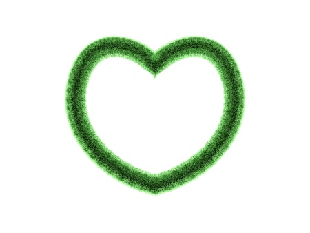 3D Green heart shaped frame isolated on white background. photo