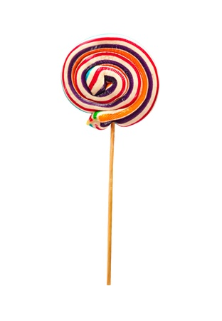 Vintage, swirl lollipop on wooden stick isolated on white background with clipping path Stock Photo
