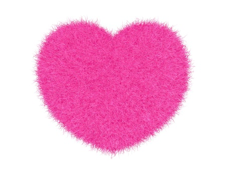 Pink furry heart on white background 3d render