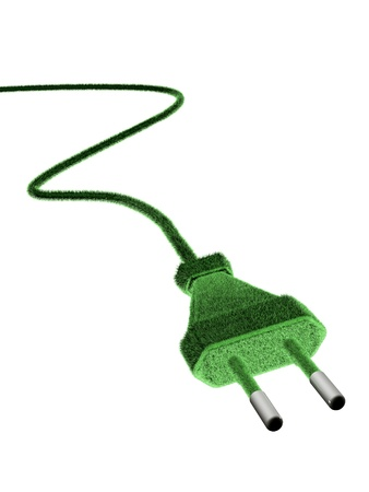 3d european plug covered with grass, green energy concept Stock Photo