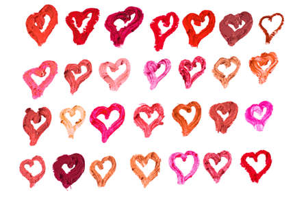 Lipstick heart strokes in many shades isolated on white background Stock Photo