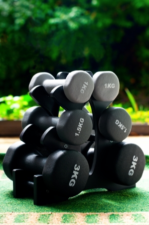 Set of six dumbbells of different size and weight outdoors