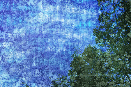 patch of light: Abstract background of sky and tree with added canvas texture. Stock Photo