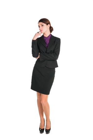 beautiful brunette business woman worry about anything isolated