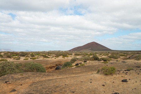 View of mountains, clouds and rocks in Lanzarote