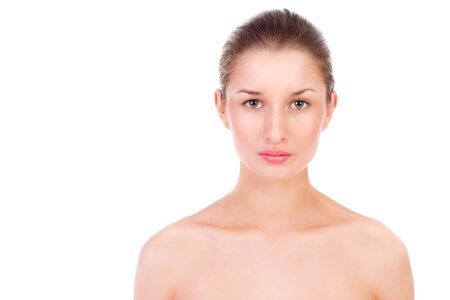 young beautiful woman with clear skin, isolated