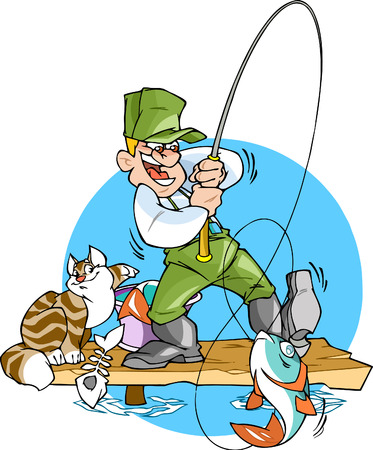 on the hook: A fisherman catches a fish.He is holding a fishing rod with a big fish.Cat steals from a bucket  fish.