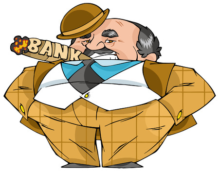 The thick important banker smokes a ciga
