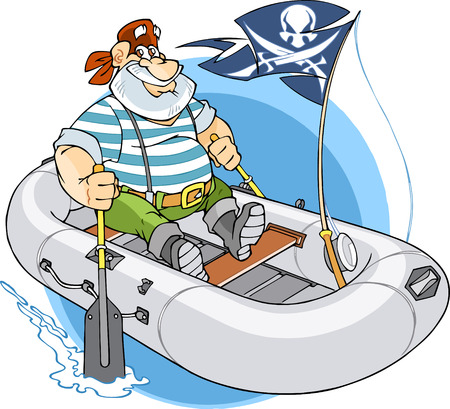 Man schwimmt im Schlauchboot.Innerhalb das Boot sucht eine Piratenflagge und Man nach Abenteuer.