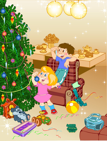 In the room with the toys the children decorate the Christmas tree. Vector
