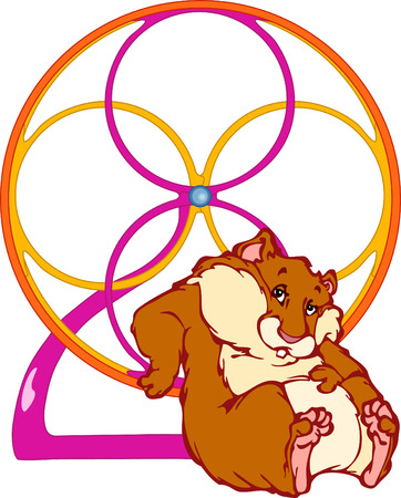 Rothaarige Hamster sitzt nahe dem Rad.