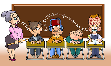 Children in school.They sit in math class and listen the teacher. Illustration