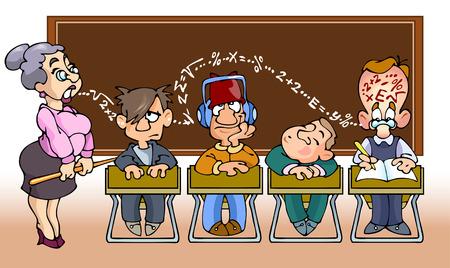 règle: Les enfants dans school.They assis en classe de math�matiques et d'�couter le professeur.
