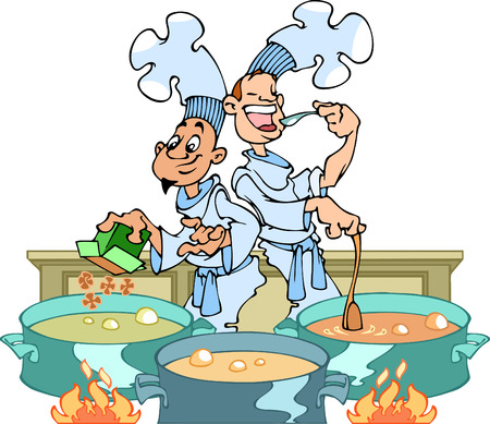 broth: Couple of cooks in the kitchen busy cooking a meal