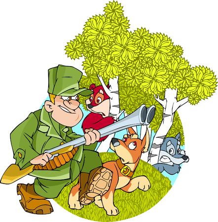 cazador: Hunter con una pistola y un perro va en bosques