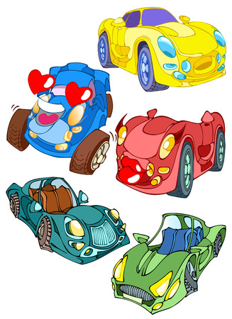 Cartoon transport.Multi-colored cars toys. Stock Vector - 8701281