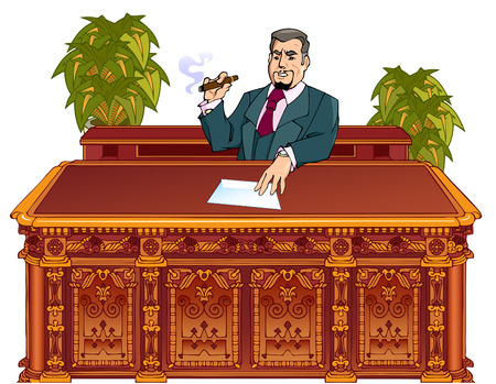 Administrative boss sits at the table and keeps a hand on the envelope. Stock Vector - 8811510
